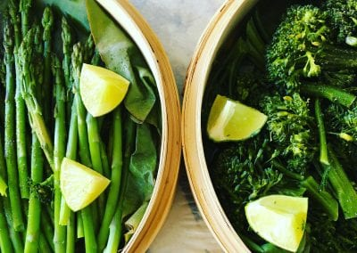 Steamed Asparagus and Broccolini