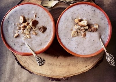 Red Rice Kheer with Candied Cashews