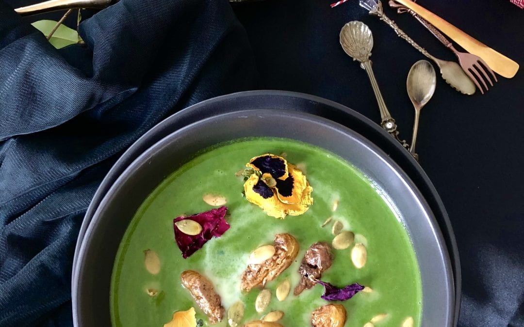 Spinach Soup with Fingerling Potatoes